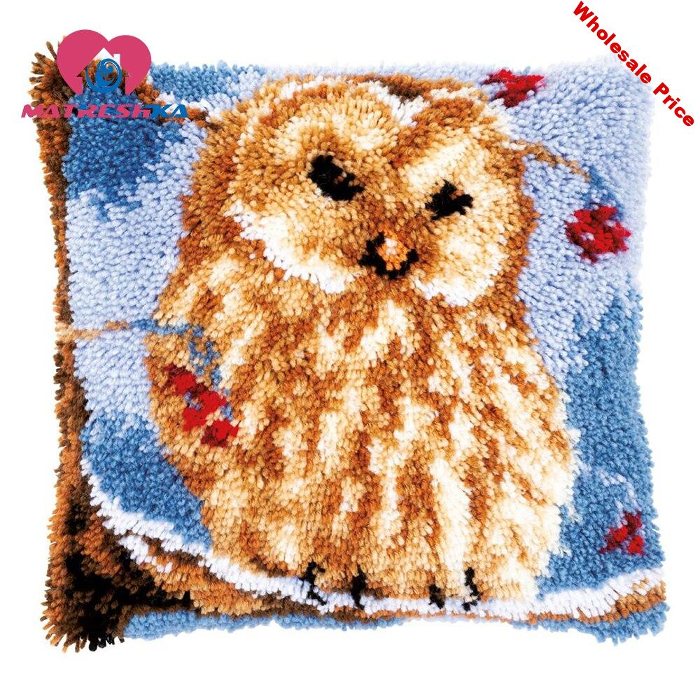 latch hook kits owl cross-stitch pillow embroidery carpet do it yourself embroidery pillow Foamiran for crafts home decor