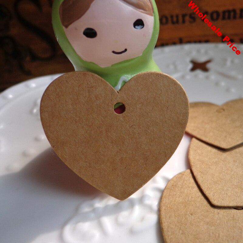 500pcs Small Heart Shape Kraft Gift Tag Party Decoration Paper Cards Lovely Garment Tags String Included Retro Hang Tag