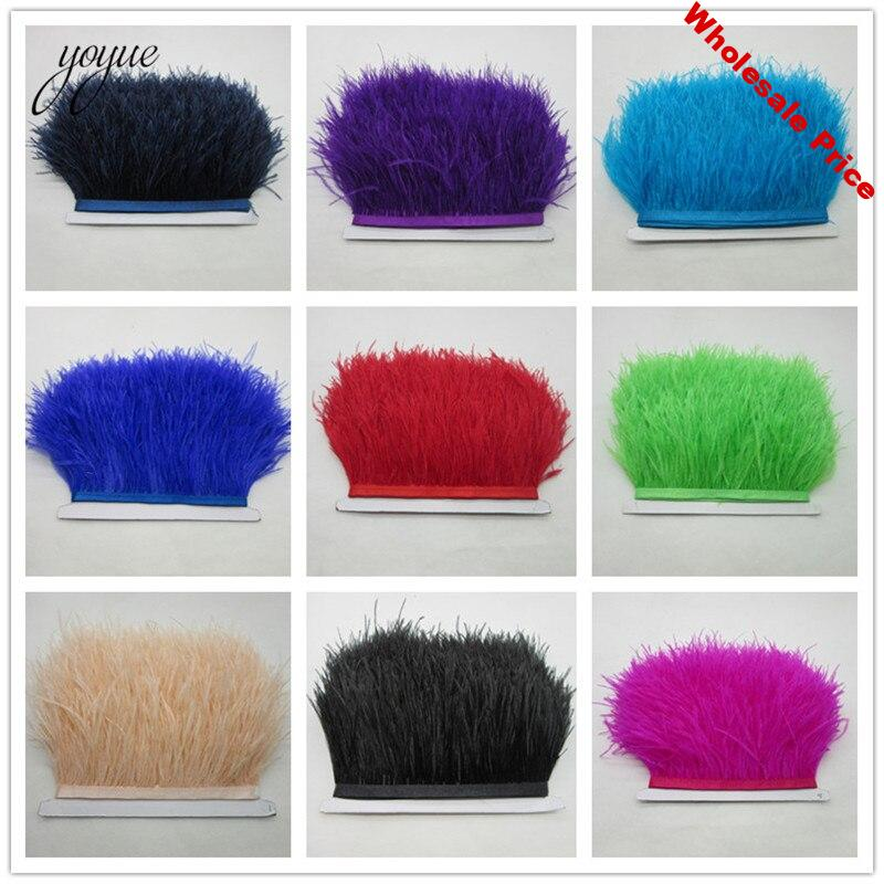 5Meter 8-10CM Ostrich feather trim for skirt/dress costume Black White ostrich feathers ribbon DIY feather For Crafts decoration