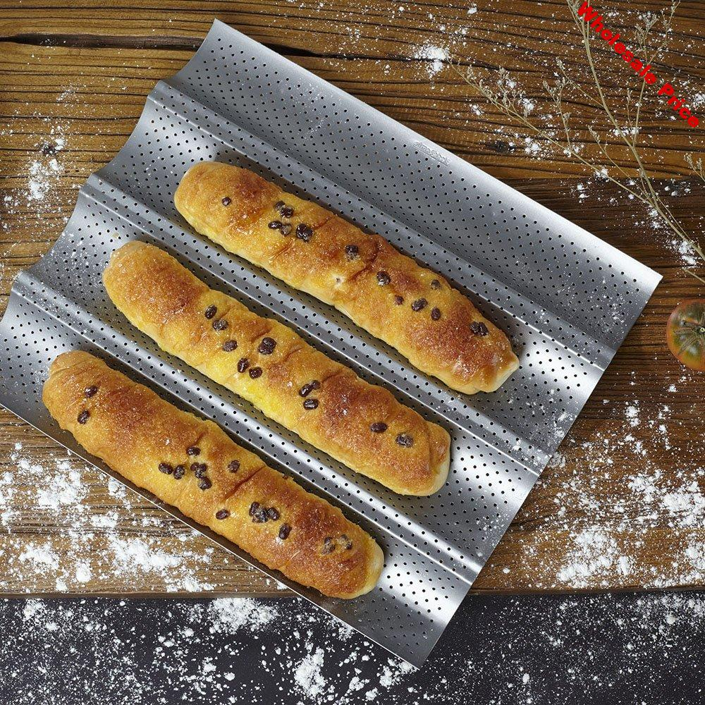 """15"""" by 13"""" Non-stick Perforated Baguette Pan for French Bread Pan Wave Loaf Bake Mold Subway Mold Tray Cloche mold pan"""
