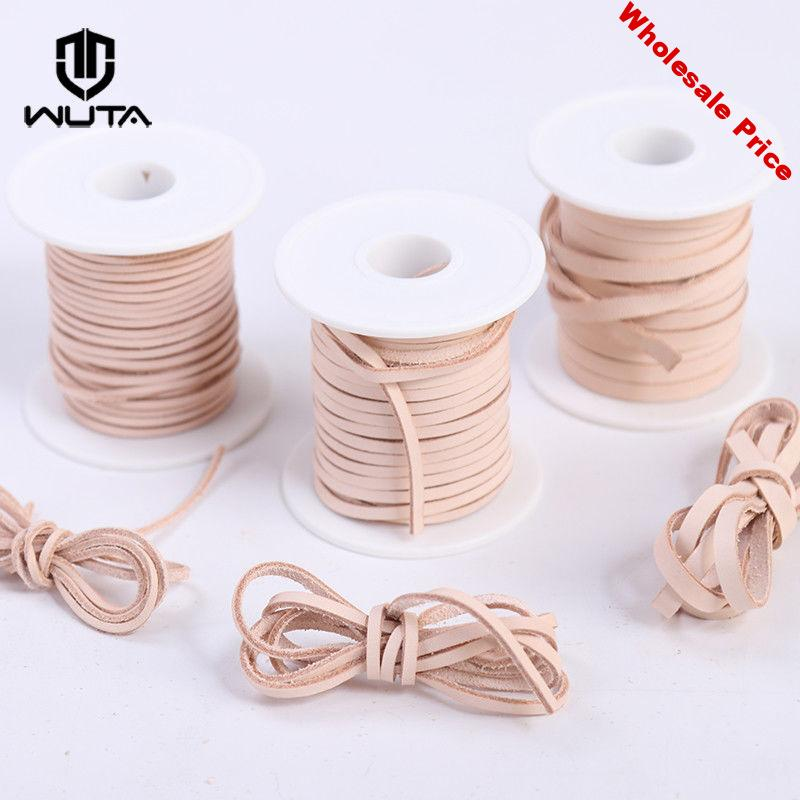 WUTA 2mm 3mm 5mm Natural Veg -tan Leather Rope Flat Cord Lace Thong String Bracelet Jewellery Woven Ropes Necklace DIY Handmake