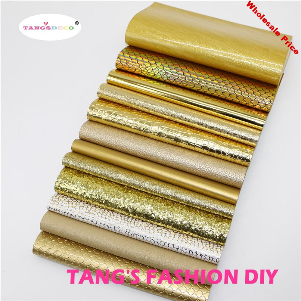 12pcs-High Quality NEW MIX STYLE Gold color mix PU leather set/synthetic leather set/DIY fabric artificial leather