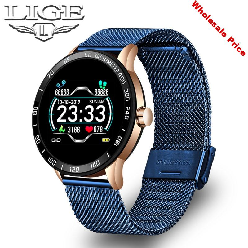 LIGE Sports Smart Watch Men Smart Fitness Watch heart rate blood Pressure Monitor Pedometer for Android ios Active Smart Watch
