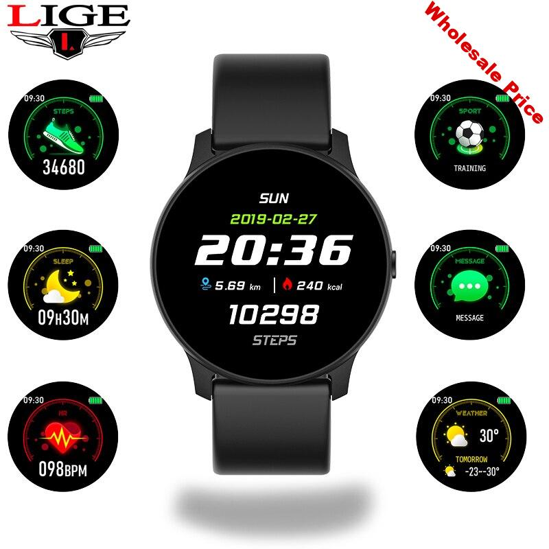 LIGE Men and Women Smart Watch Fitness Smartwatch Blood Pressure Heart Rate Monitor Pedometer Sport Watch Men for Android iOS