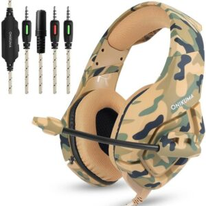 K1 Headset Bass Gaming Headphones Game Earphones Casque Camouflage PS4 with Mic for Mobile Phone PC New Xbox One Tablet