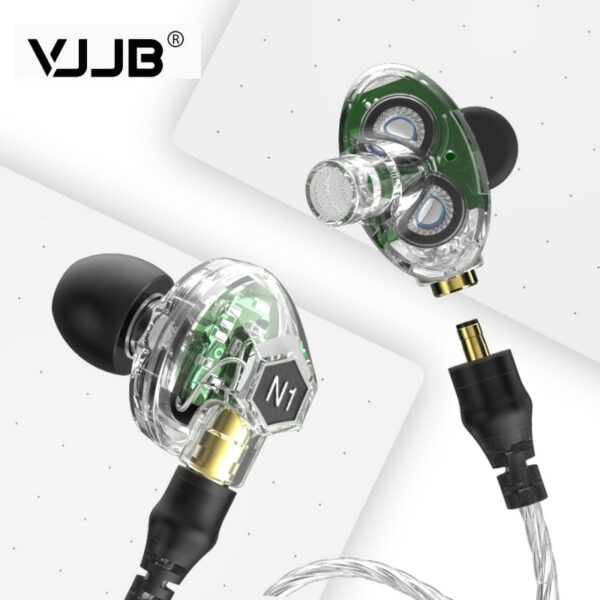 VJJB N1 Double Dynamic Earphone Two Unit Driver DIY HIFI Bass Subwoofer with Mic Cable+Audio Cable