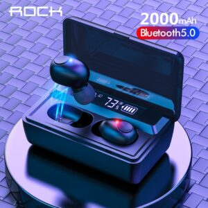 ROCK Bluetooth 5.0 TWS Wireless Bluetooth Earphones 8D Hifi Stereo Sports With Mic 2000mAh Led Display Power Bank Charging Box