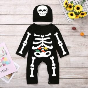 Baby Halloween Costume For 3-18 Months Newborn Baby Clothes Toddler Boy Jumpsuit New Born Romper+hat Infant Kids Ghost Clothing