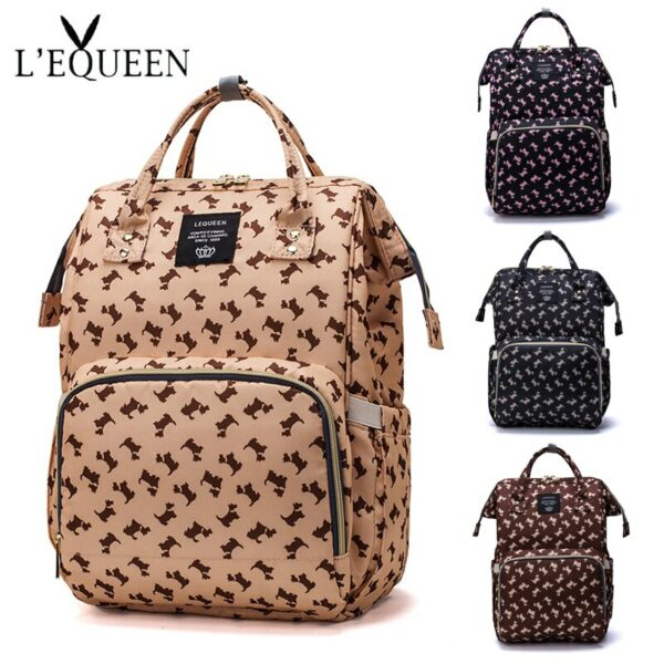 LEQUEEN Fashion Mommy Diaper Bag Mother Waterproof Large Capacity Travel Nappy Backpacks With Anti-Loss Zipper Baby Nursing Bags