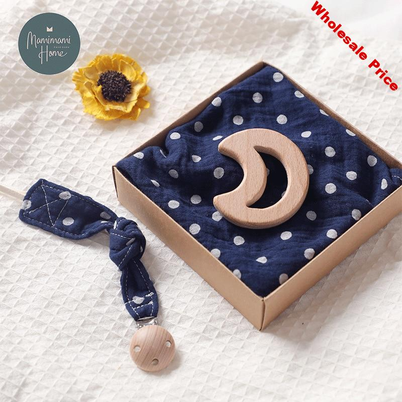 1 Set Baby Cotton Bibs Pacifier Clip Chain Beech Wooden Teether Rodent Wood Moon aliva Towel Pacifier Chain For Children Product