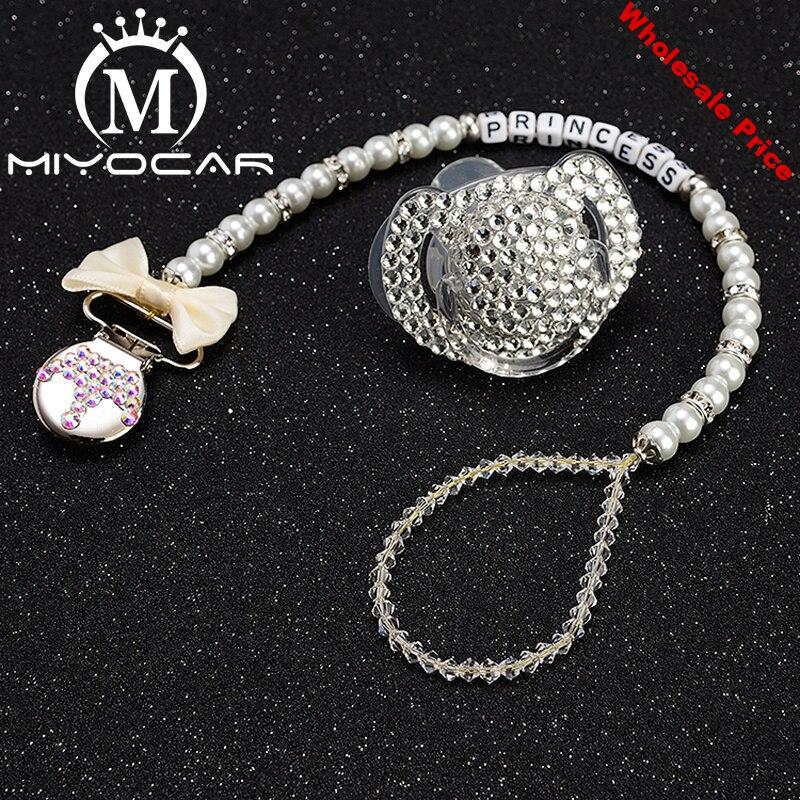 MIYOCAR any name bling crown pacifier clip personalized pacifier clip dummy clii with bling pacifier set unique SP003