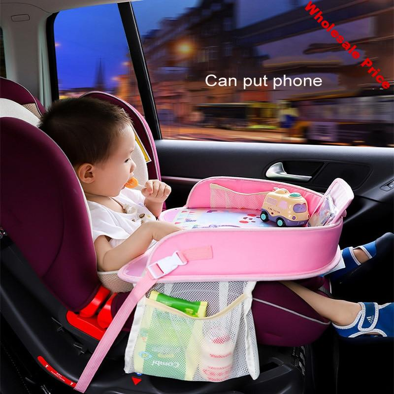 Kids Portable Car Seat Desk Food Drink Table Tray Baby Car Safety Seat Tray Waterproof Stroller Holder Kids Car Accessories
