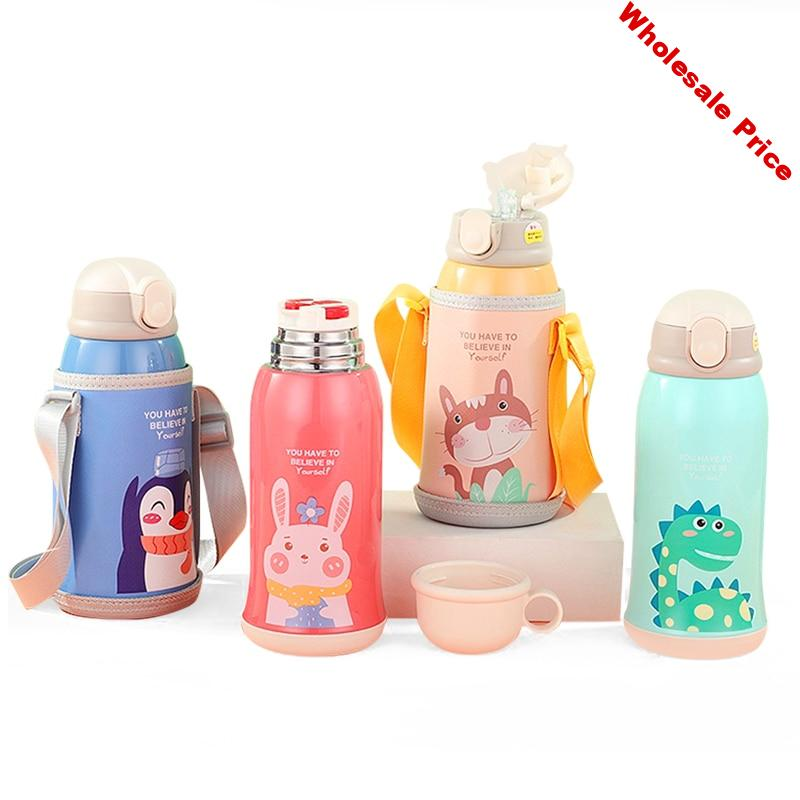 Children's Mug Large Capacity Baby New Suction Cup Water Cup Stainless Steel Strap Kettle  Water Bottle  Insulated Cup