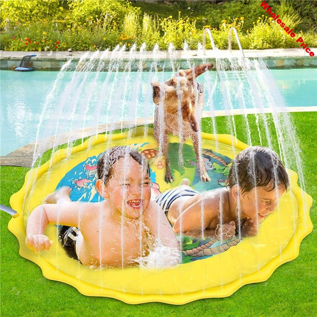 100cm/170cm Water Mat Children Baby PVC Outdoor Play Water Games Beach Mat Inflatable Sprinkler Hand-Eye Spray Water Cushion Toy