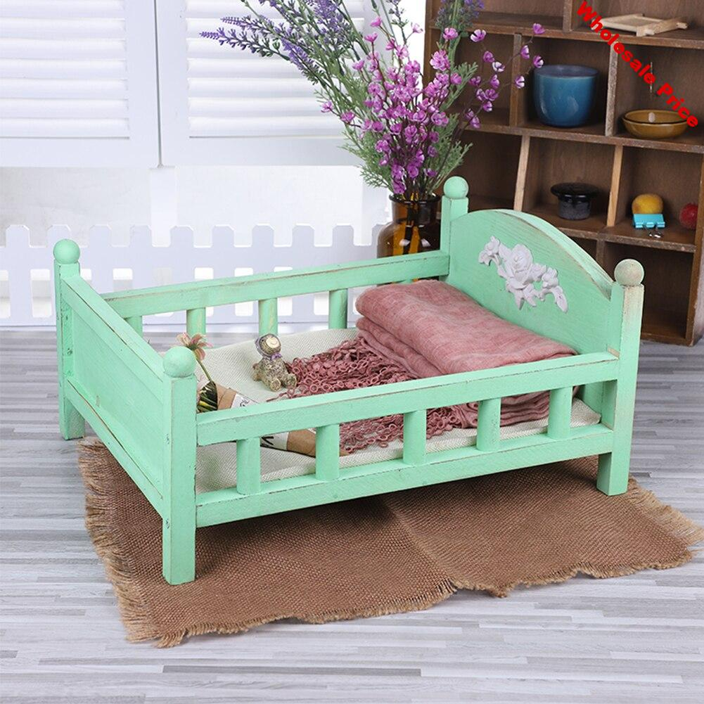 Wood Bed Posing Detachable Childhood Crib Photo Props Gift Baby Photography Durable Cute Lovely Newborn Studio Background