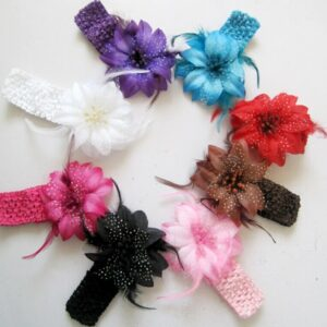 8PCs per Set 8Colors Baby Girls Feather Flower Headbands Handmade Free Shipping