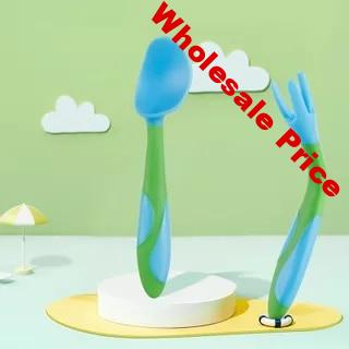 Silicone Baby Spoon  Baby Spoons   Feeding Fork Spoon  Baby Spoon  Kids Cutlery  Utensils  Spoon Crooked Soft  Feeding and Care