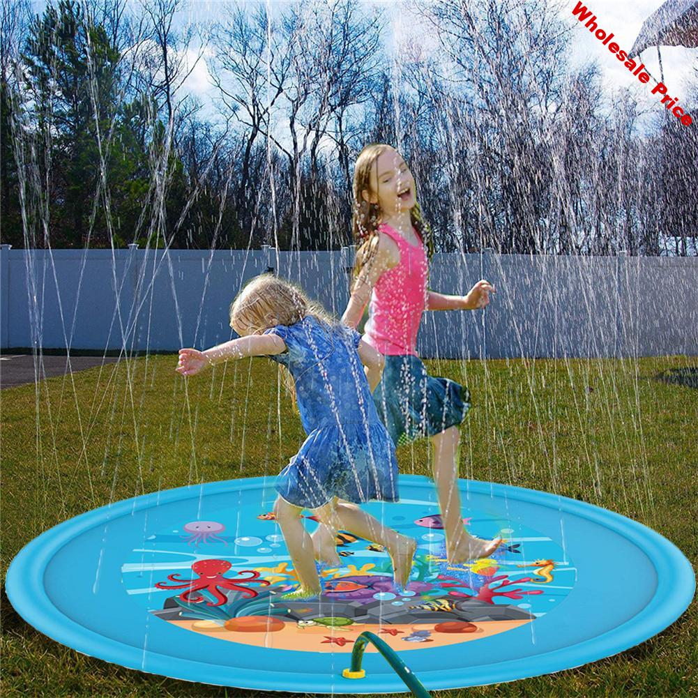 Water Splash Pad PVC Summer Inflatable Outdoor Sprinkle Pad Summer Entertainment Water Spray Carpet Pad Toy Play Games Water Mat