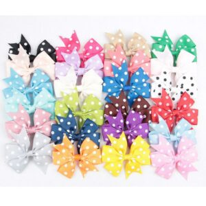 "Yundfly 100pcs 3.4"" Dot Ribbon Bow For DIY Children Headband Hairpins Girls Women Headwear Hair Accessories"