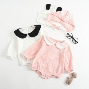 100% Cotton Baby Girls Romper Ruffle Lotus Collar Soft With Rabbit Hat Autumn Jumpsuits Bebes Long Sleeve Kids Romper