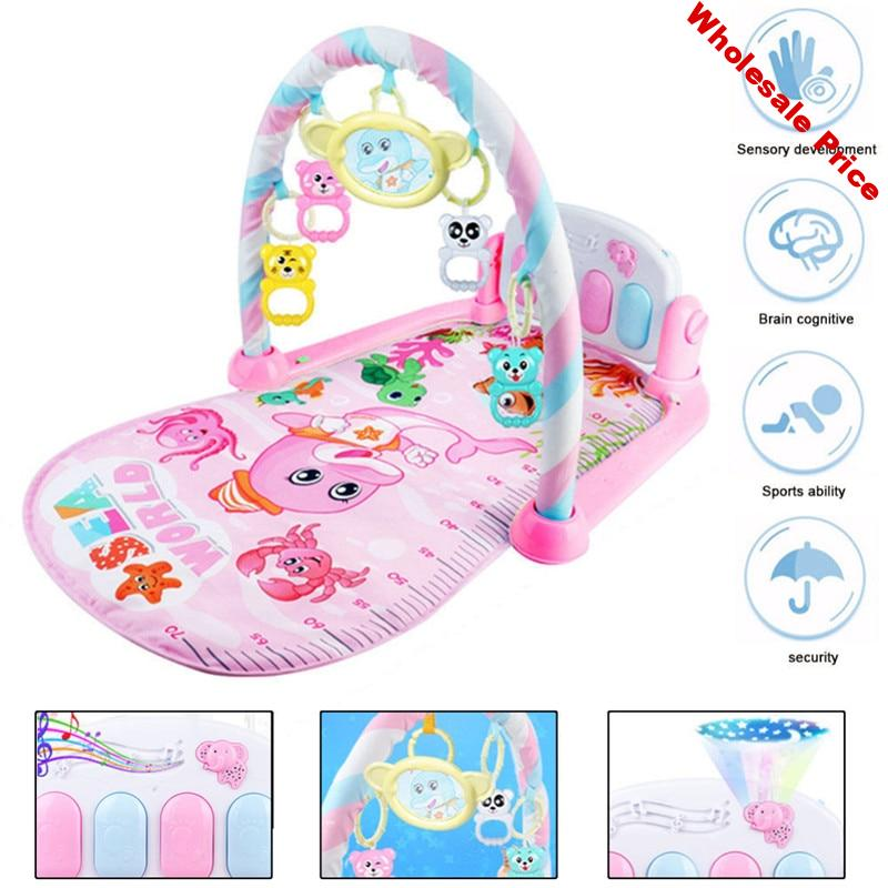 Baby Play Mat Gym Toys Gaming Carpet 0-12 Months Soft Lighting Rattles Children's Music Mat Infant Crawling Activity cradle Toys