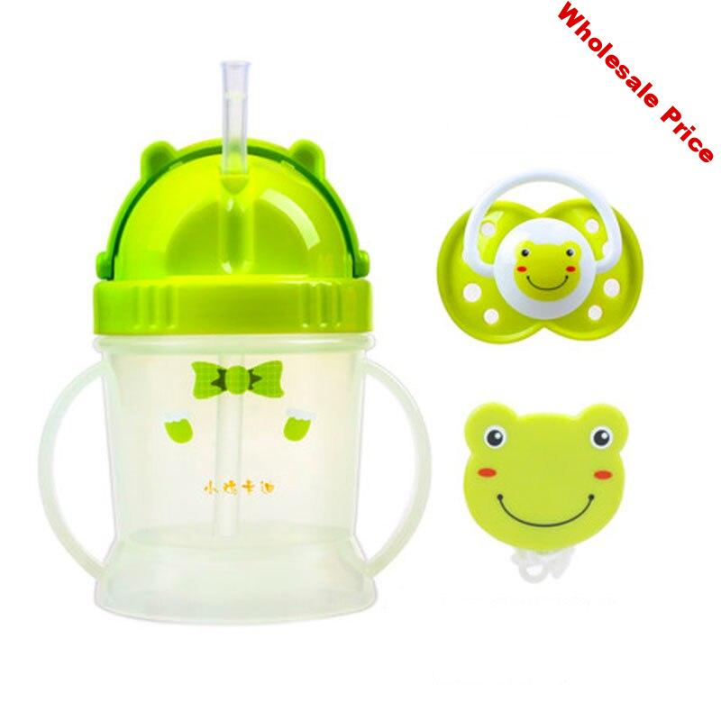 shatter-proof carton spill-proof heat-resistant straw handle 240ml water bottle learning drink sippy baby cup on sale KD3309