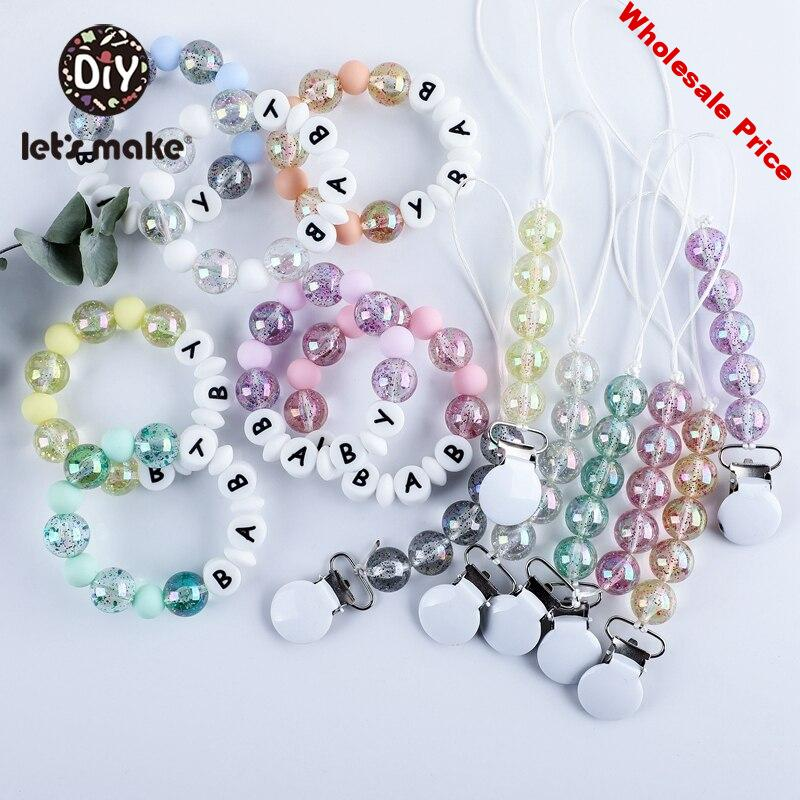Let's Make 5pcs/set  Acrylic beads Baby Pacifier Chain Holder  Baby Rattle Crib Mobiles Stroller  Accessories Baby Toys