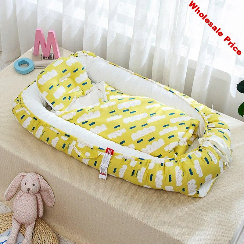 Foldable Newborn Sleeping Nest Bed with Pillow Outdoor Bassinet Baby Cot Fence Lounger Removable Waterproof Portable Baby Nest