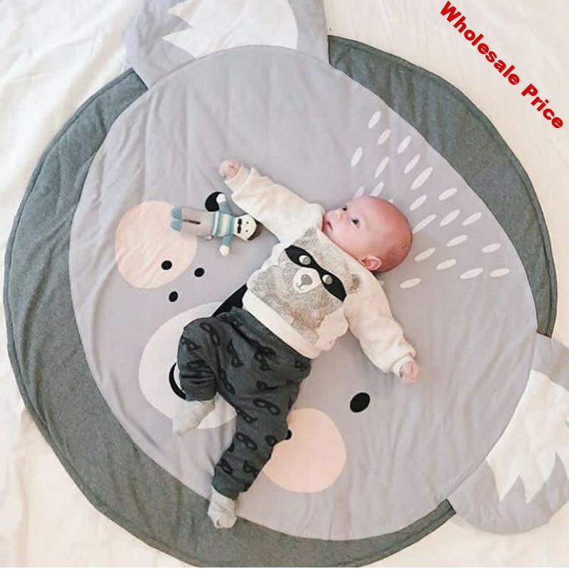 Nordic Animal Baby Padded Play Mats Soft Cotton Crawling Mat Girls Game Rugs Round Floor Carpet For Kids Interior Room Decor