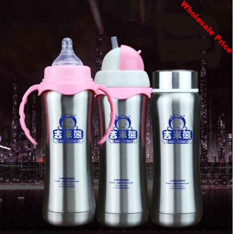 180/240ml one feeding bottle with three use-method Stainless steel thermos bottle baby and children Water milk Vacuum cup