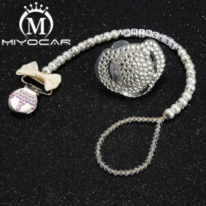 MIYOCAR custom name bling crown pacifier clip personalized pacifier holder dummy clip with bling pacifier set unique SP003