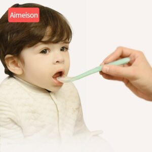 silicone baby spoon feeding baby spoon for baby dishes Tableware for children flatware cutlery Aimeison silicone spoon