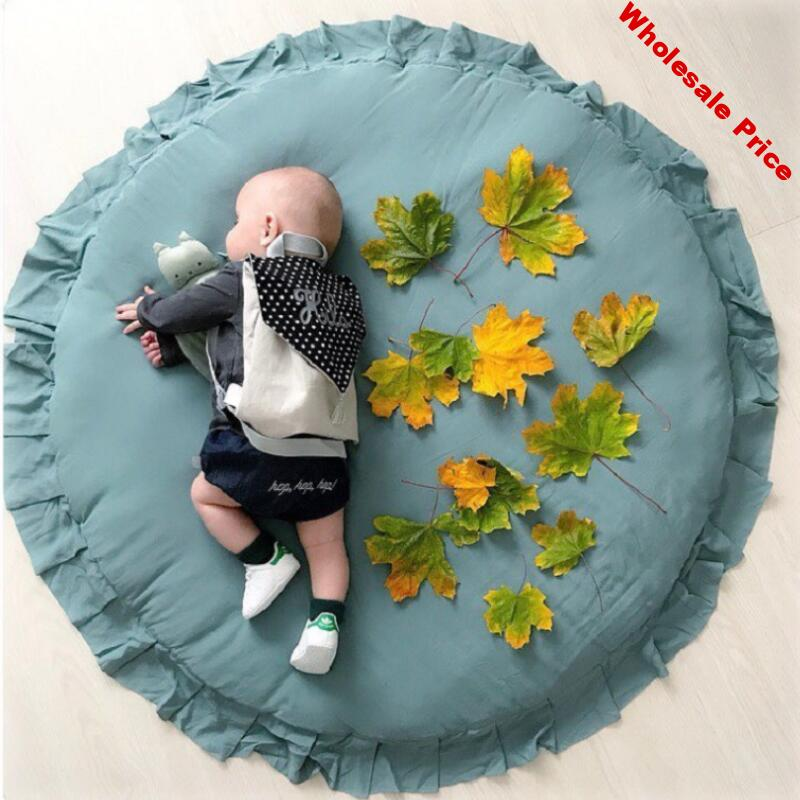 INS Diameter 100cm Nordic Lace Children's Room Decoration Baby Game Blanket Solid Lace Baby Crawling Pad Infant Play Mat Cushion