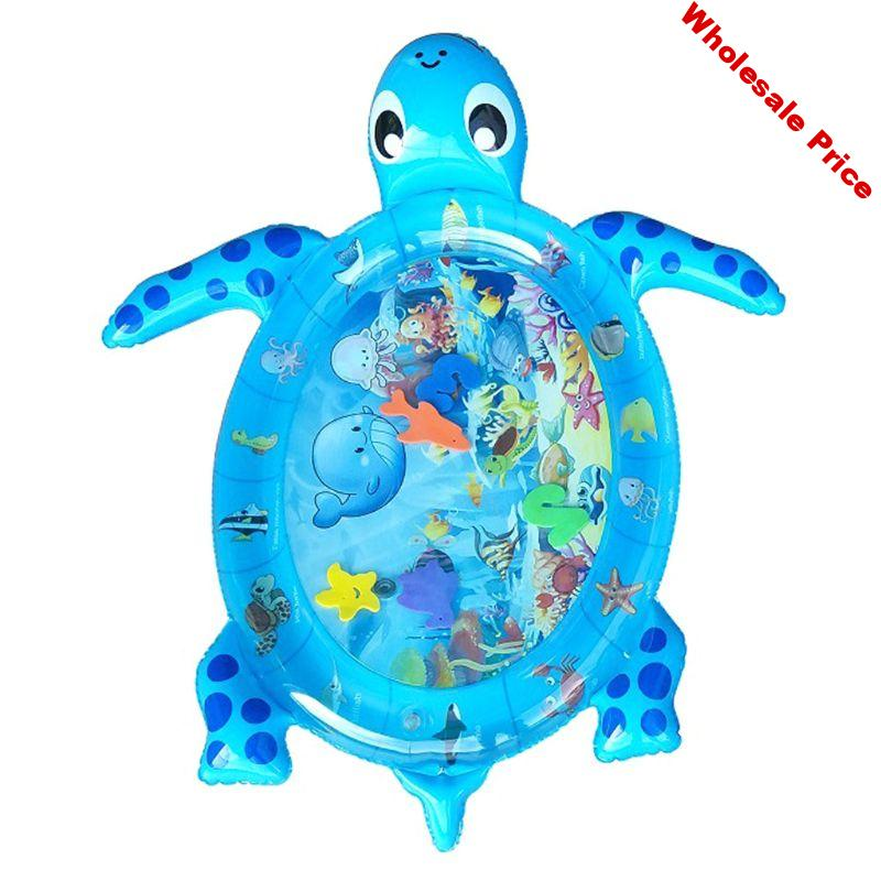 Baby Water Play Mat Sea Turtle Shape Inflatable Infant Tummy Time Playmat Toy for Baby Toddler Kids