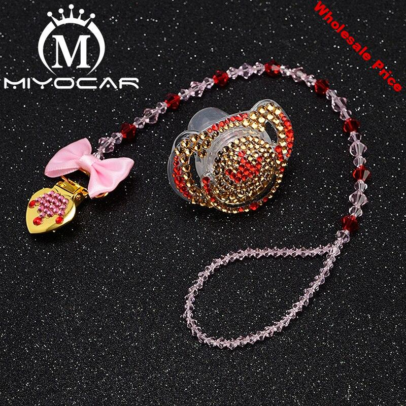MIYOCAR custom name bling heart pacifier clip personalized pacifier holder dummy clip with bling pacifier set unique gift SP007