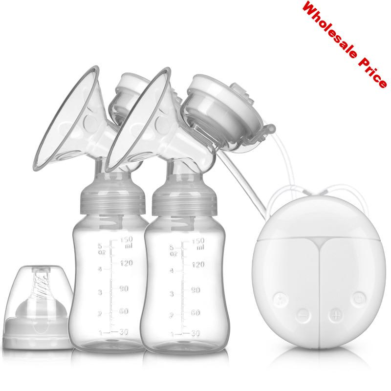 Baby Electric Milk Breast Pumps USB Powerful Suction Nipple Pump Infant Double Bottles Kids Electric Breast Feeding Tools T0785