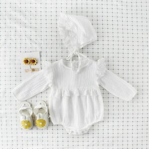 Soft breathable newborn baby clothes ruffles lace cotton long sleeve infant baby romper princess girls baby jumpsuit 0-2 Y