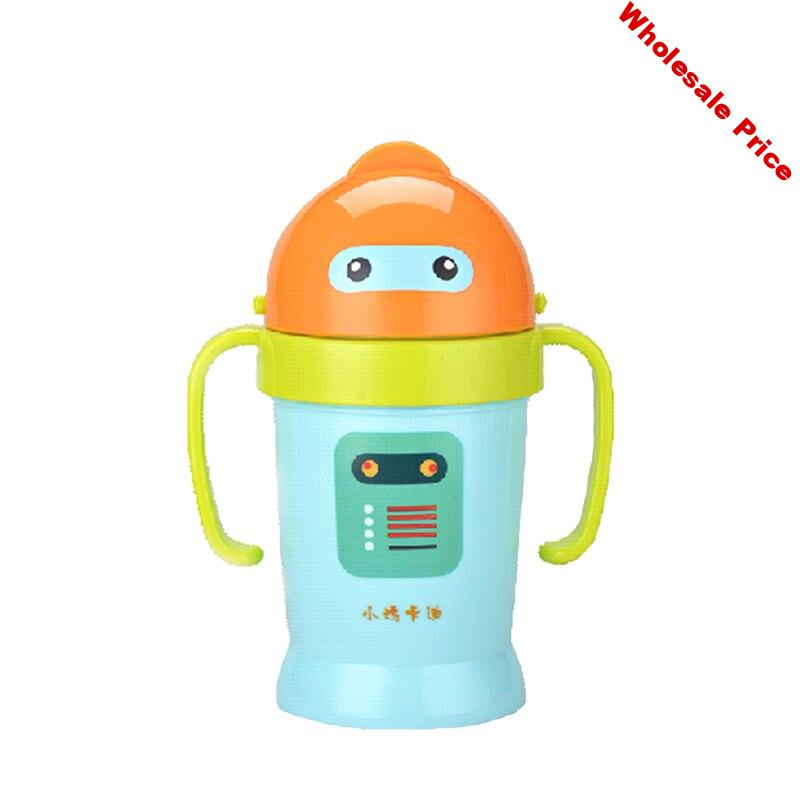shatter-proof robot spill-proof heat-resistant straw handle 170ml water bottle learning drink sippy baby cup on sale KD3306
