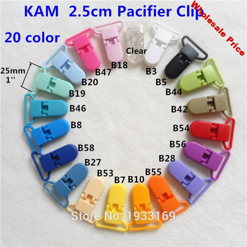 Chenkai 100pcs 25mm 1'' KAM Plastic Baby Pacifier MAM Dummy Soother Chain Holder Clips DIY Binder Suspender Toy Clips 1 inch