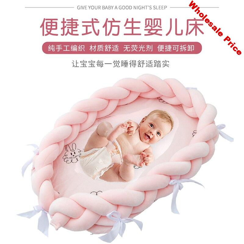 Baby Nest Bed Crib Portable Removable Washable Knotted Crib Travel Bed Children Infant Kids Cotton Cradle Bumper Dropshipping
