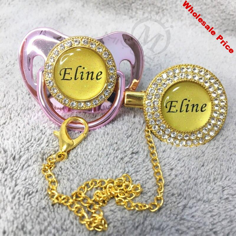MIYOCAR custom any glitter name photo gold pink bling pacifier and pacifier clip mint  BPA free dummy bling glitter design P1-BG