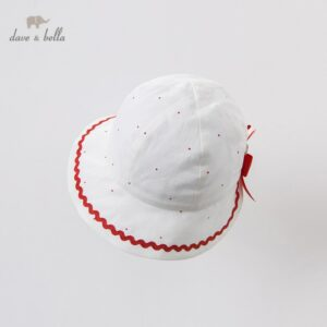 DB13382-H dave bella summer new born baby girls cute dots print bow hat girls fashion bucket cap