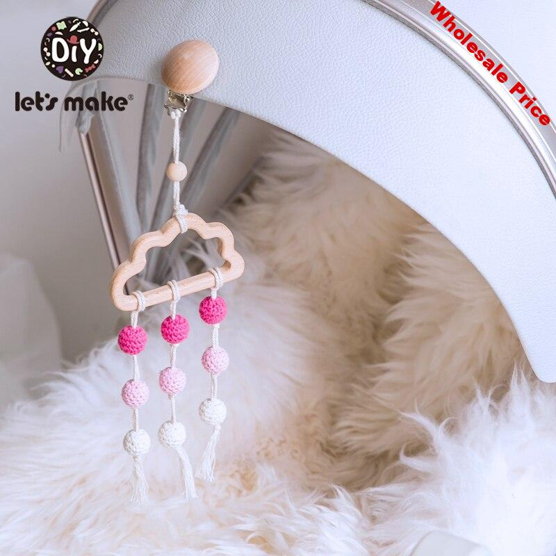 Let'S Make 4Pc Wooden Baby Rattle Toy New Born Baby Toys Baby Bed Hanging Rattles Toys Baby Mobile Music Baby Toys 0-12 Months