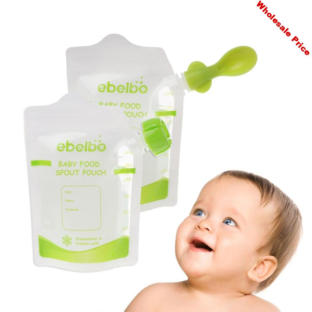 10Pcs Baby Food Storage Squeeze Food Bag with 10 Lids and 2 Spoons Drink Spout Pouch Portable Fruit Vegetable Baby Food Pouch