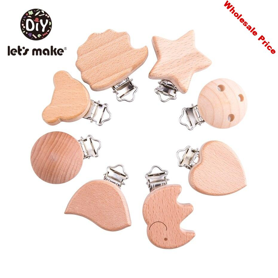 Let's Make 8pc/set Baby Wooden Pacifier Clips Beech Wood Cartoon Shaped Diy Accessories Pacifier Chain Holder For Nipples