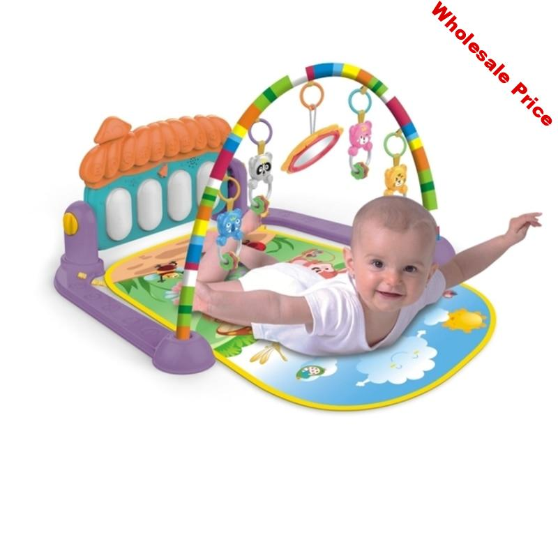 Baby Toys Music Game Blanket Pedal Piano Fitness Rack Children Fitness Rack Baby Gym Play Mat Early Education Rug For 0-12M