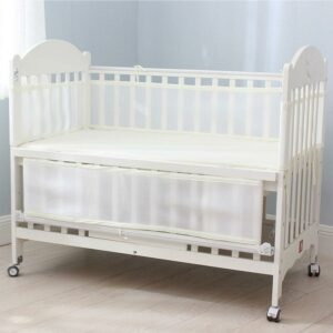 Newborn Toddler Baby Crib Breathable Mesh Baby Anti-Collision Bed Bumper Protector Detachable Snow White Crib Liner