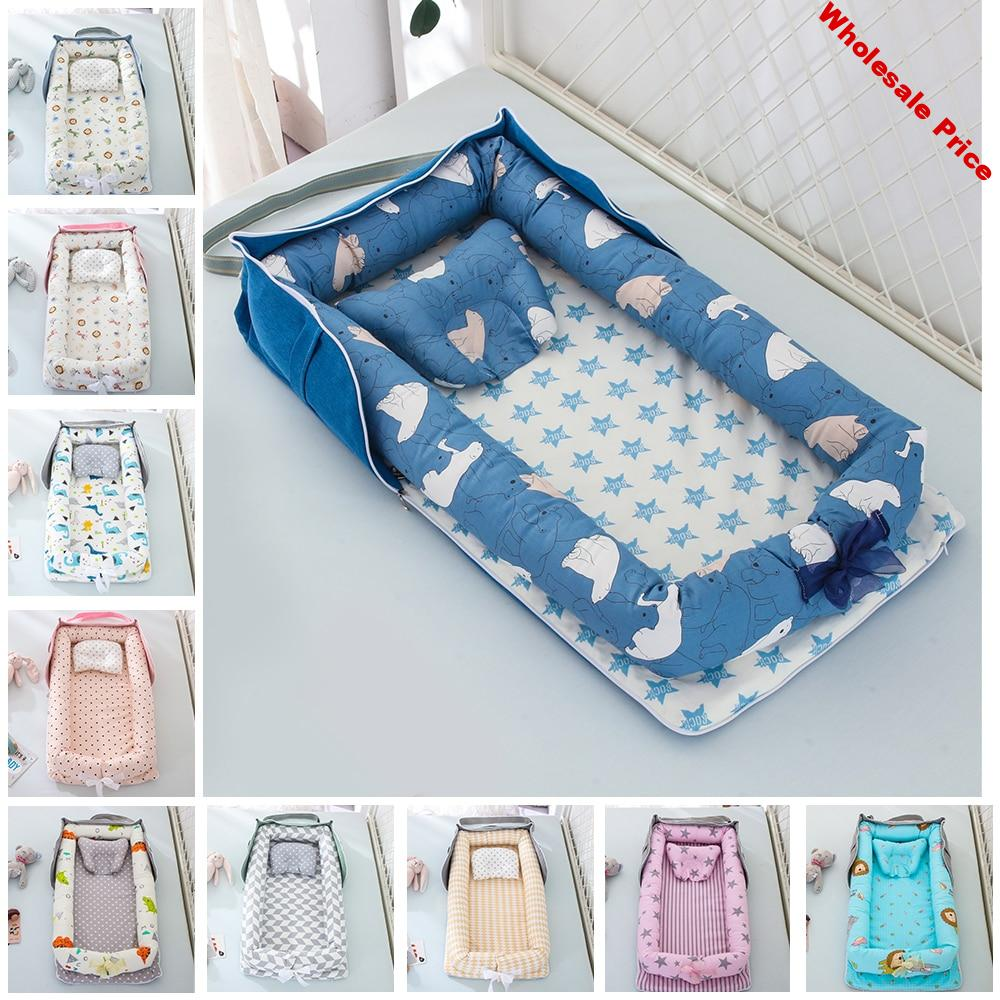 Portable Baby Crib Nest Bed for Boys Girls Travel Bed Infant Cotton Cradle Crib Washable Baby Bassinet Newborn Bed Baby Gift