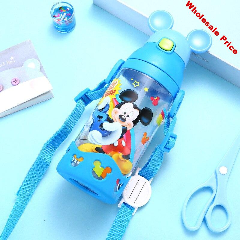 2019 Disney Baby Straw Bottle Water Cup Boys Girls Learning Drink Water Handle Cute Babies Baby Mickey Minnie Cup 350-500ML