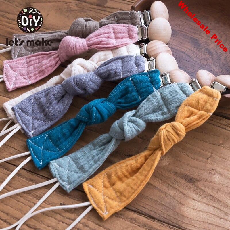 Let'S Make 7pc Baby Toys Pacifier Chain Personalized Pacifier Clip Wood Holder For Nipples Cotton Nipple Chain For New Born Baby